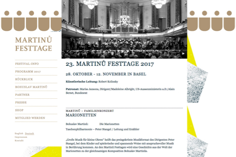 Martinů Festtage Screenshot